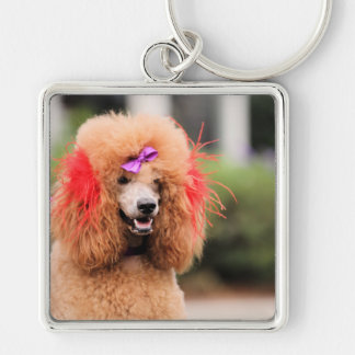 Poodle Day 2010 #1 Silver-Colored Square Key Ring