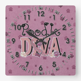 Poodle DIVA Square Wall Clock