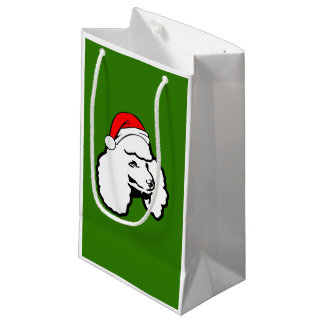 Poodle Dog with Christmas Santa Hat Small Gift Bag