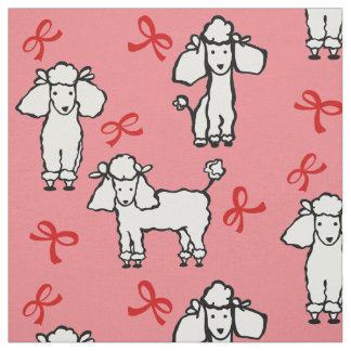 Poodle Dogs Red Bow Pink Fabric