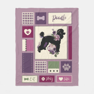 Poodle fleece blanket | Medium | purple