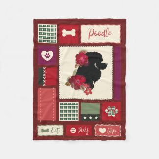 Poodle fleece blanket | SMALL | red