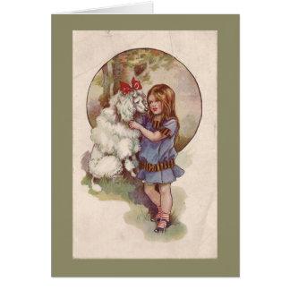 Poodle  Greetng Card Vintage