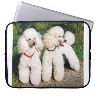 poodle group white laptop sleeve