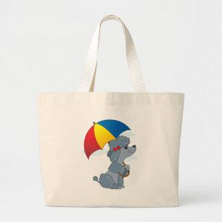 Poodle in Rain Jumbo Tote Bag