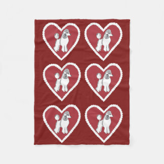 Poodle Love Burgundy Fleece Blanket