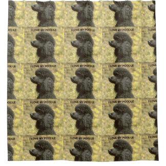 poodle love w pic black shower curtain