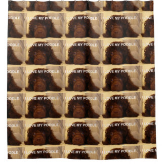 poodle love w pic brown shower curtain