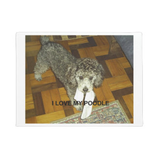 poodle love w pic silver doormat