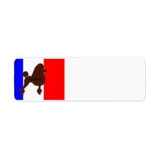 poodle name silhouette brown on flag return address label
