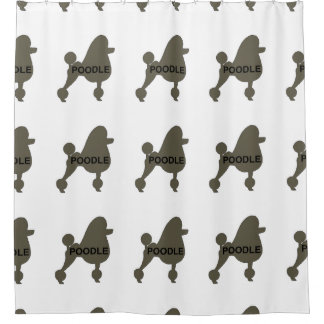poodle name silo silver shower curtain
