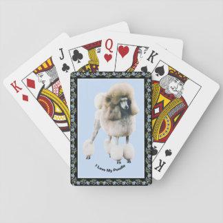 Poodle on Black Blue Bells Playing Cards