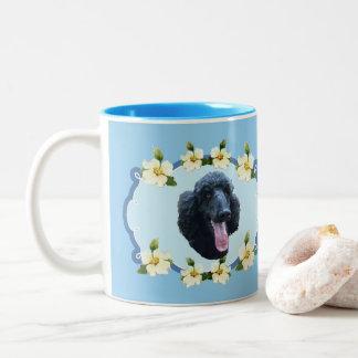 Poodle on Blue Dogwood Two-Tone Coffee Mug
