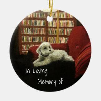 Poodle on Chair Pet Portrait with Text Round Ceramic Decoration