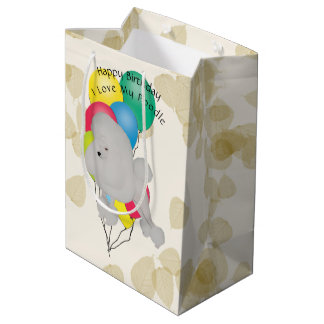 Poodle on Tan Leaves with Balloons Medium Gift Bag