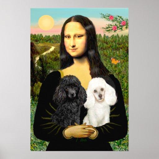 Poodle Pair (Black + White) - Mona Lisa Poster