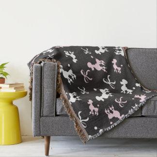 Poodle pink and black monogram throw blanket