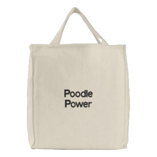 Poodle Power Embroidered Tote Bags