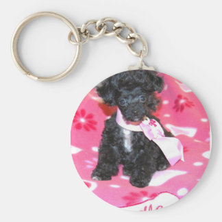 Poodle puppy in Pink Basic Round Button Key Ring