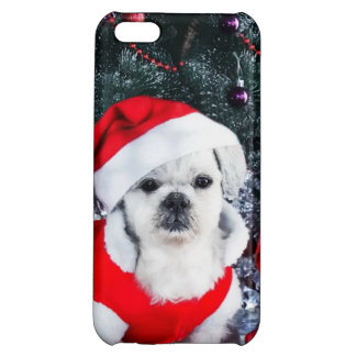 Poodle santa - christmas dog - santa claus dog cover for iPhone 5C
