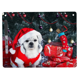Poodle santa - christmas dog - santa claus dog dry erase board with key ring holder