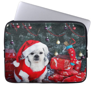 Poodle santa - christmas dog - santa claus dog laptop sleeve