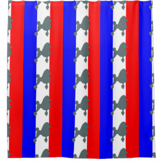 poodle silhouette blue on flag shower curtain