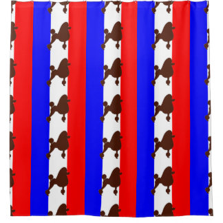 poodle silhouette brown on flag shower curtain