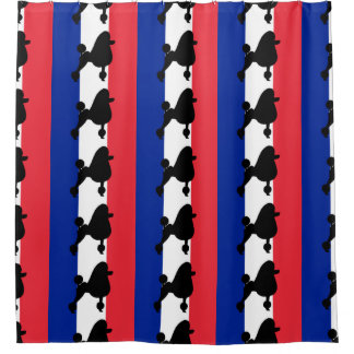 poodle silhouette on flag shower curtain
