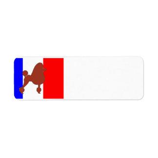 poodle silhouette red on flag return address label