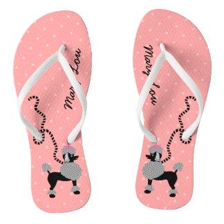Poodle Skirt Dog Retro Pink 50s Modern Custom Name Thongs
