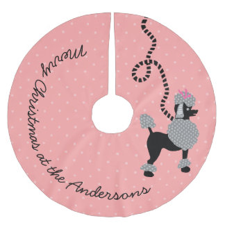 Poodle Skirt Dog Retro Pink 50s Modern Dots Custom Brushed Polyester Tree Skirt