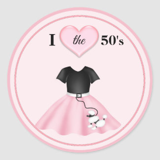 "Poodle Skirt I Heart the 50""s Classic Round Sticker"