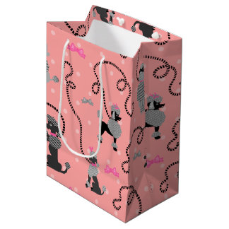 Poodle Skirt Retro Pink and Black 50s Pattern Medium Gift Bag