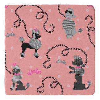 Poodle Skirt Retro Pink and Black 50s Pattern Trivet