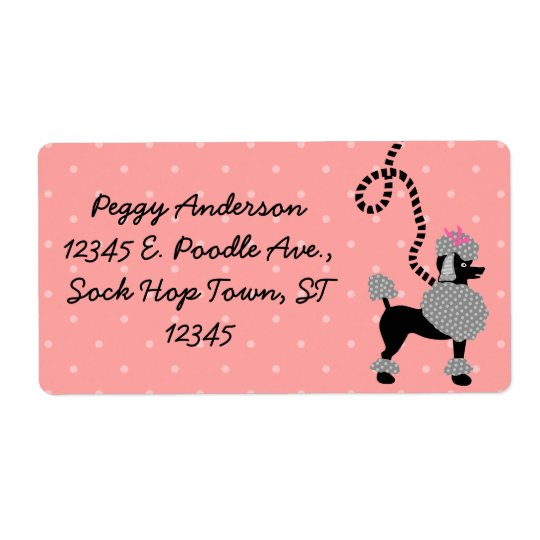 Poodle Skirt Retro Pink and Black 50s Personalised Shipping Label