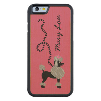 Poodle Skirt Retro Pink and Black 50s Personalized Carved Maple iPhone 6 Bumper Case