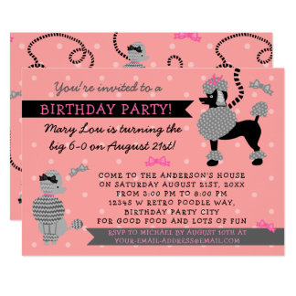 Poodle Skirt Retro Pink Black 50s Birthday Party Card