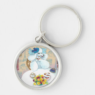 Poodle Tea Party Cupcake Key Chain