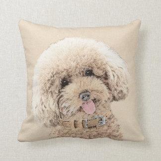 Poodle (Toy, Miniature) Painting Original Dog Art Cushion