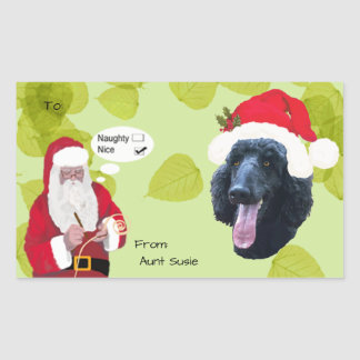Poodle w/Santa makin His Naughty or Nice List Rectangular Sticker