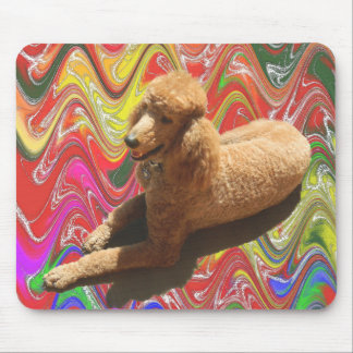 POODLE WITH CHRISTMAS CANDY COLORS. MOUSE PAD