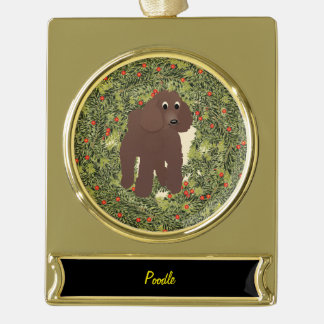 Poodle Wreath Gold Plated Banner Ornament