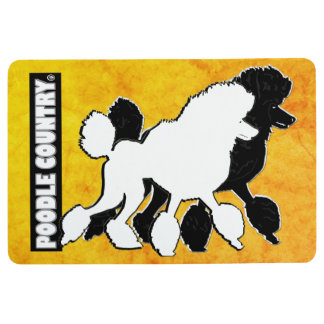 Poodles Decorative Black Yellow Floor Mat