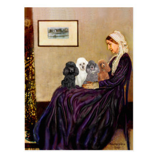 Poodles (four) - Whistler's Mother Postcard