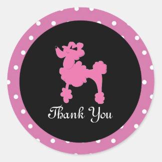 Poodles in Paris Pink Round Sticker Seal