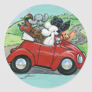 Poodles in Vintage Red Convertible Classic Round Sticker