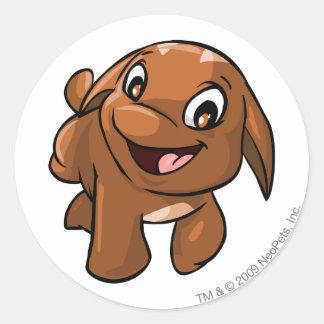 Poogle Brown Round Sticker