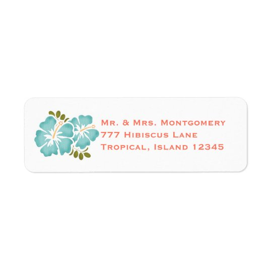 Pool and Coral Hibiscus Return Address Labels