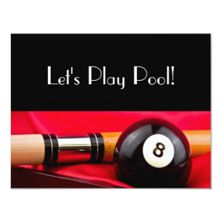Pool Ball and cue Card